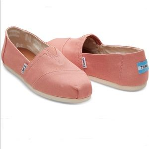 New Toms Pink Clay Canvas Slip-on Shoes Size 8.5